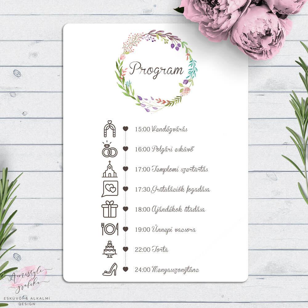 Vadvirágos Kétoldalas Esküvői Meghívó Programmal