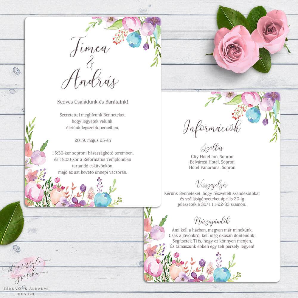 Vadvirágos Kétoldalas Esküvői Meghívó