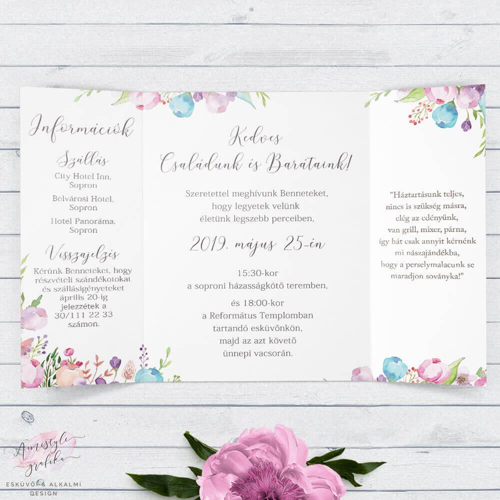 Vintage Virágos Ablakos Esküvői Meghívó