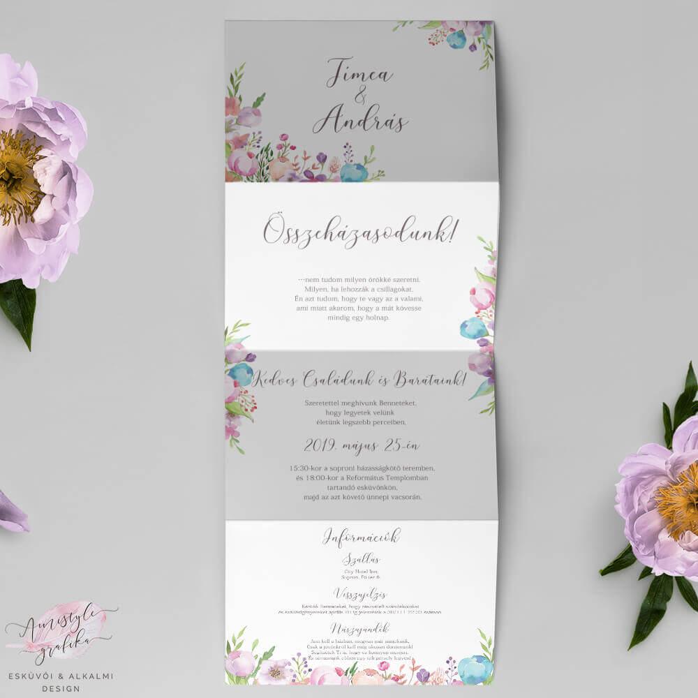 Virágos Hajtogatott Harmonika Esküvői Meghívó