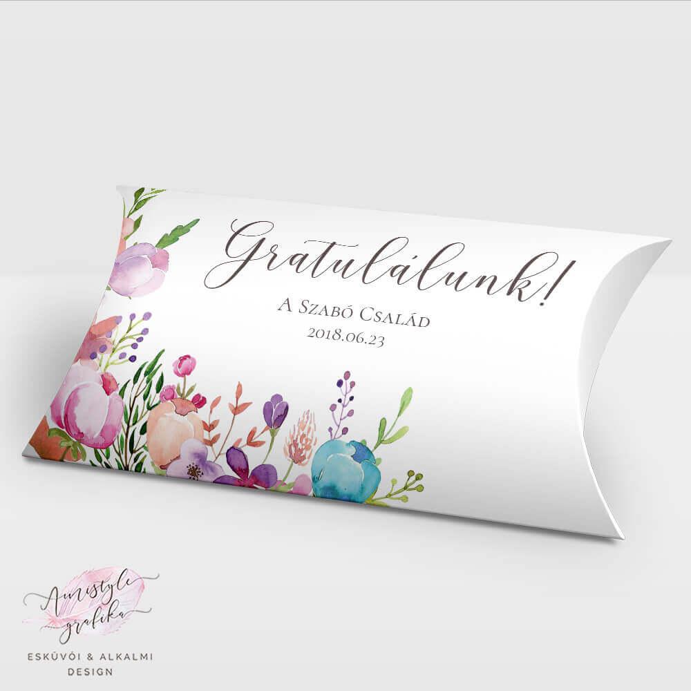 2984f5a4b0 Virágos Nászajándék Pénzátadó Pillow Box - Esküvői Meghívó, Alkalmi ...