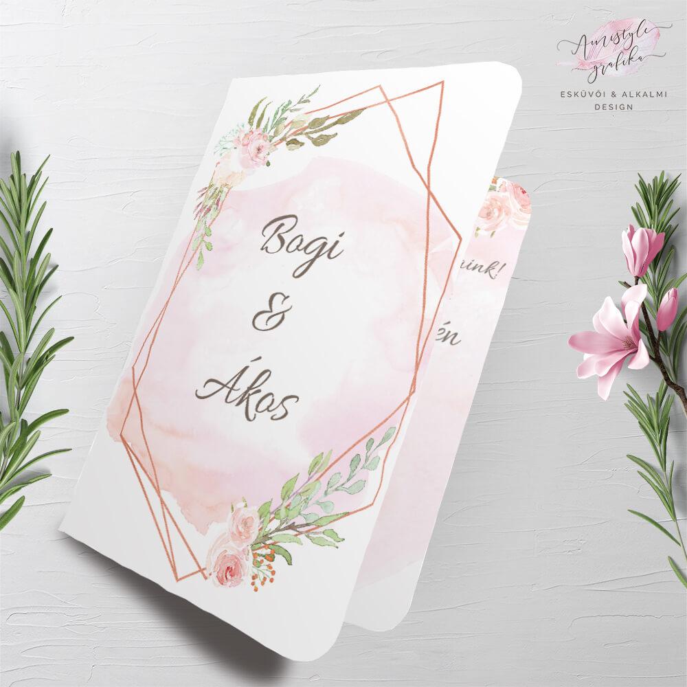 Rose Gold és Akvarell Hajtott Esküvői Meghívó