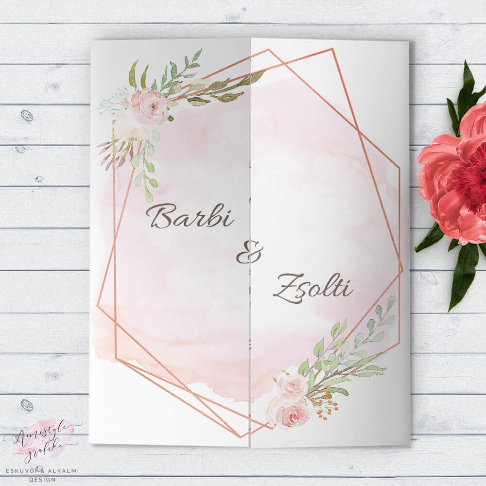 Geometrikus Akvarell Ablakos Esküvői Meghívó