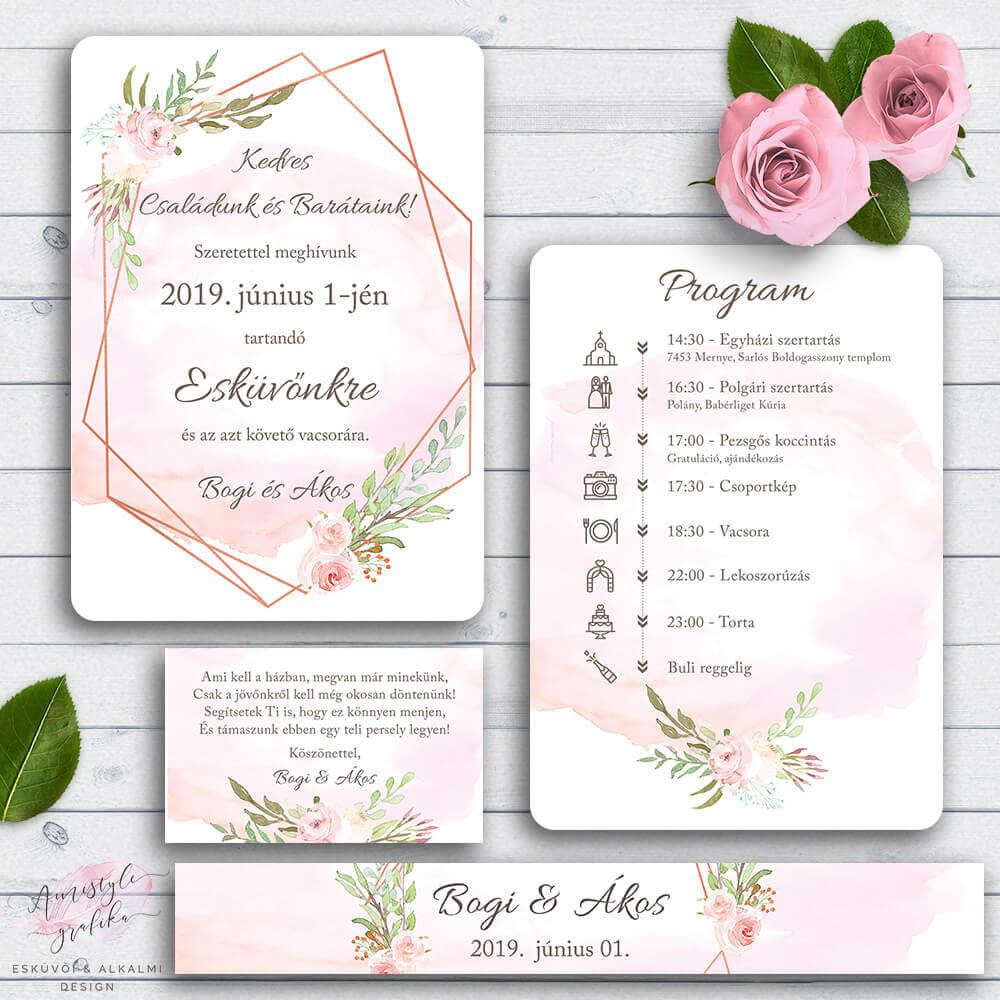 Geometrikus Rose Gold Esküvői Meghívó Szett