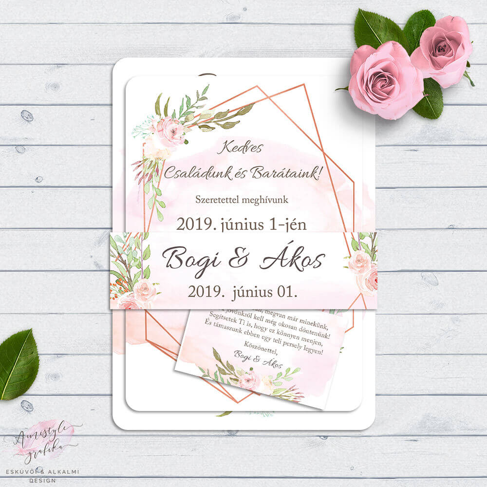 719196d8f5 Geometrikus Rose Gold Esküvői Meghívó Szett - Esküvői Meghívó ...