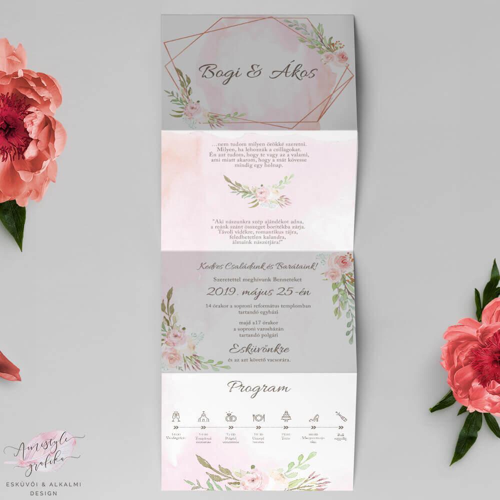 Geometrikus Harmonika Esküvői Meghívó