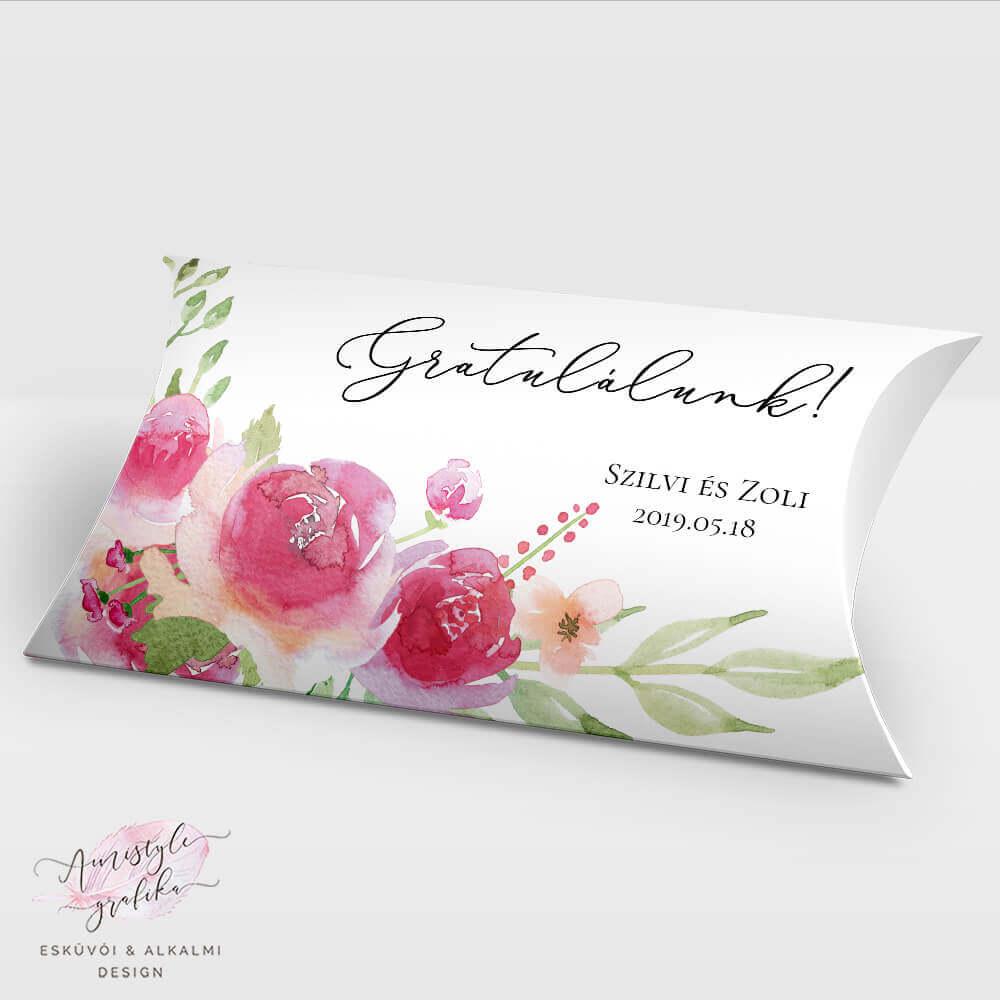Pink Barack Nászajándék Pénzátadó Pillow Box