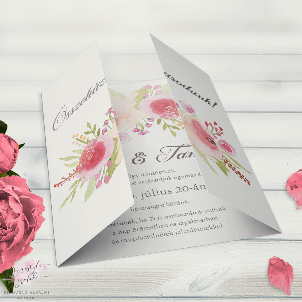 Vintage Rózsás Ablakos Esküvői Meghívó