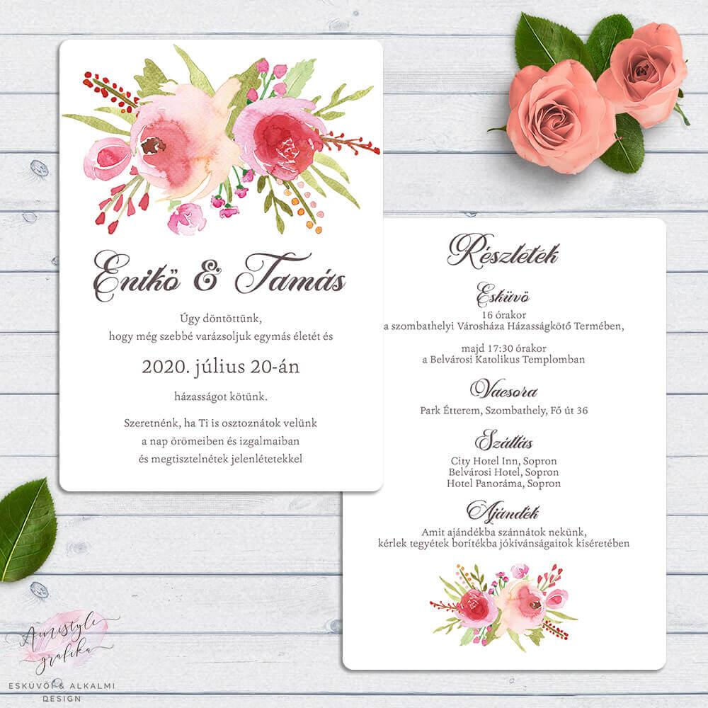 Akvarell Rózsás Kétoldalas Esküvői Meghívó