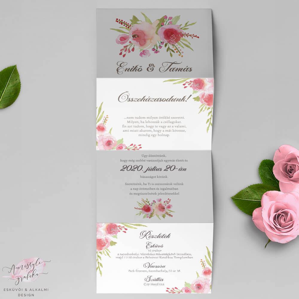 Akvarell Rózsás Harmonika Esküvői Meghívó