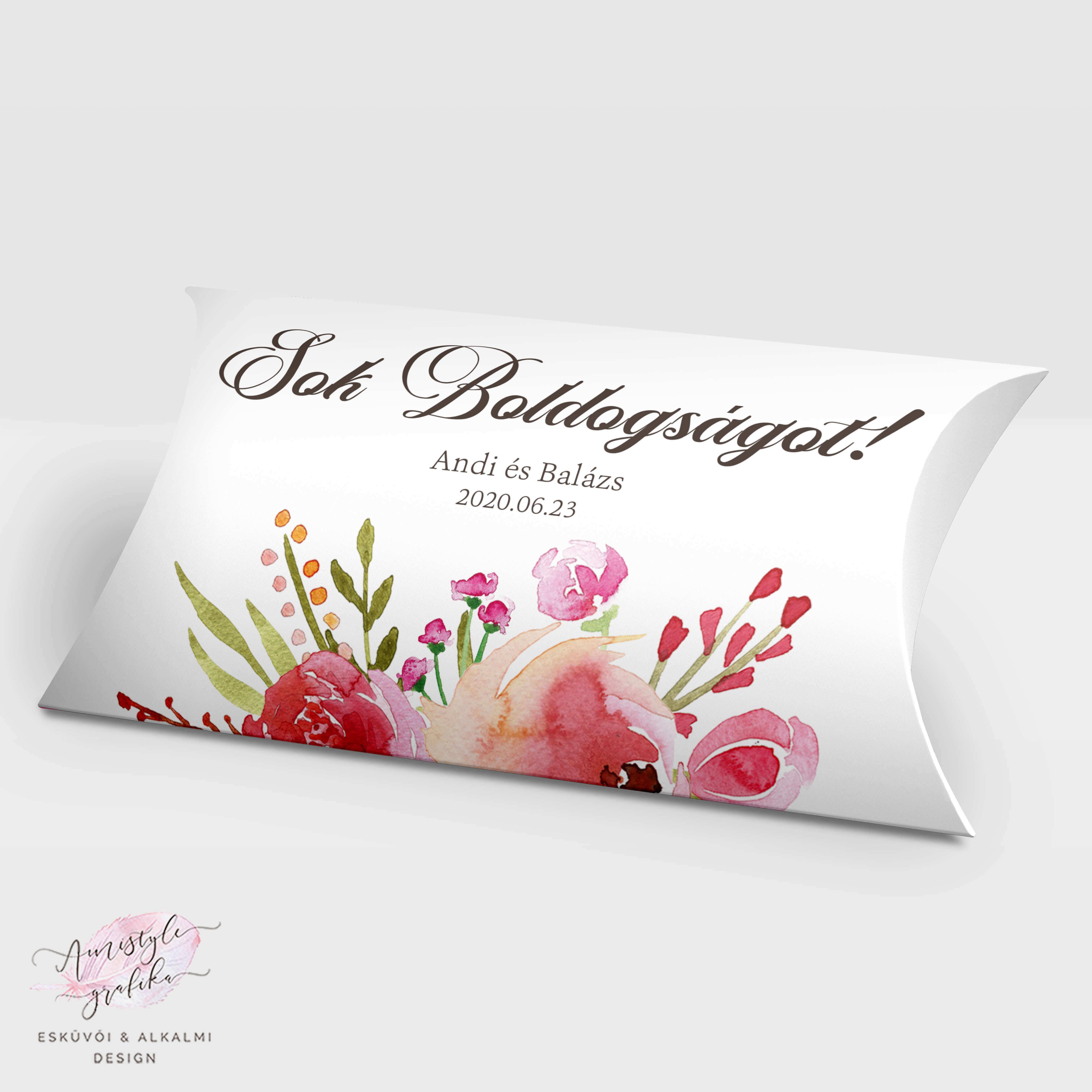 Vintage Rózsás Nászajándék Pénzátadó Párnadoboz