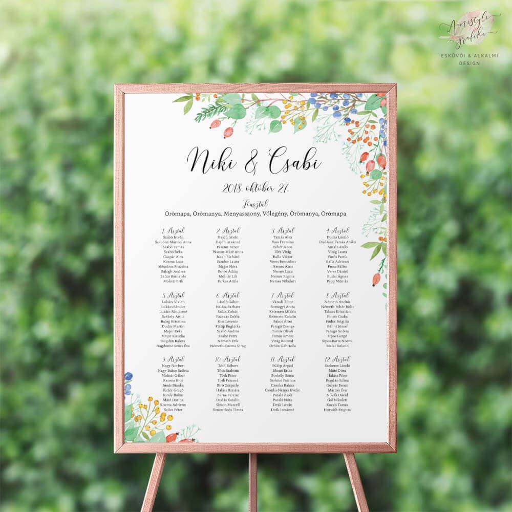 Festett Őszi Bogyós Esküvői Ültetési Rend - Álló vagy Fekvő