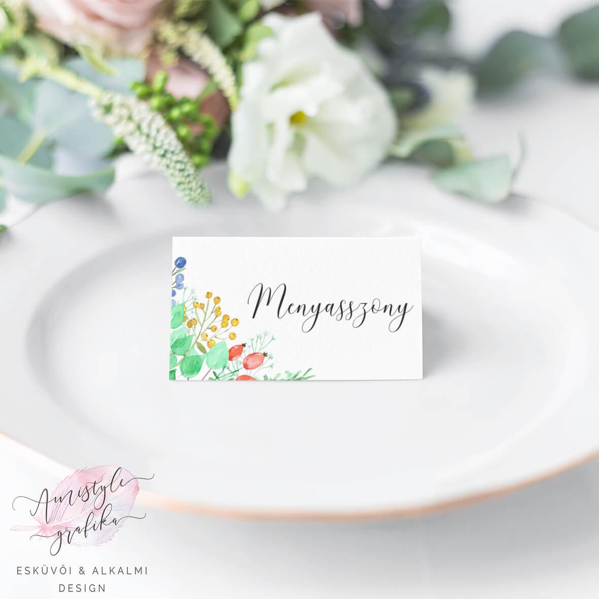Akvarell Bogyós Esküvői Ültetőkártya