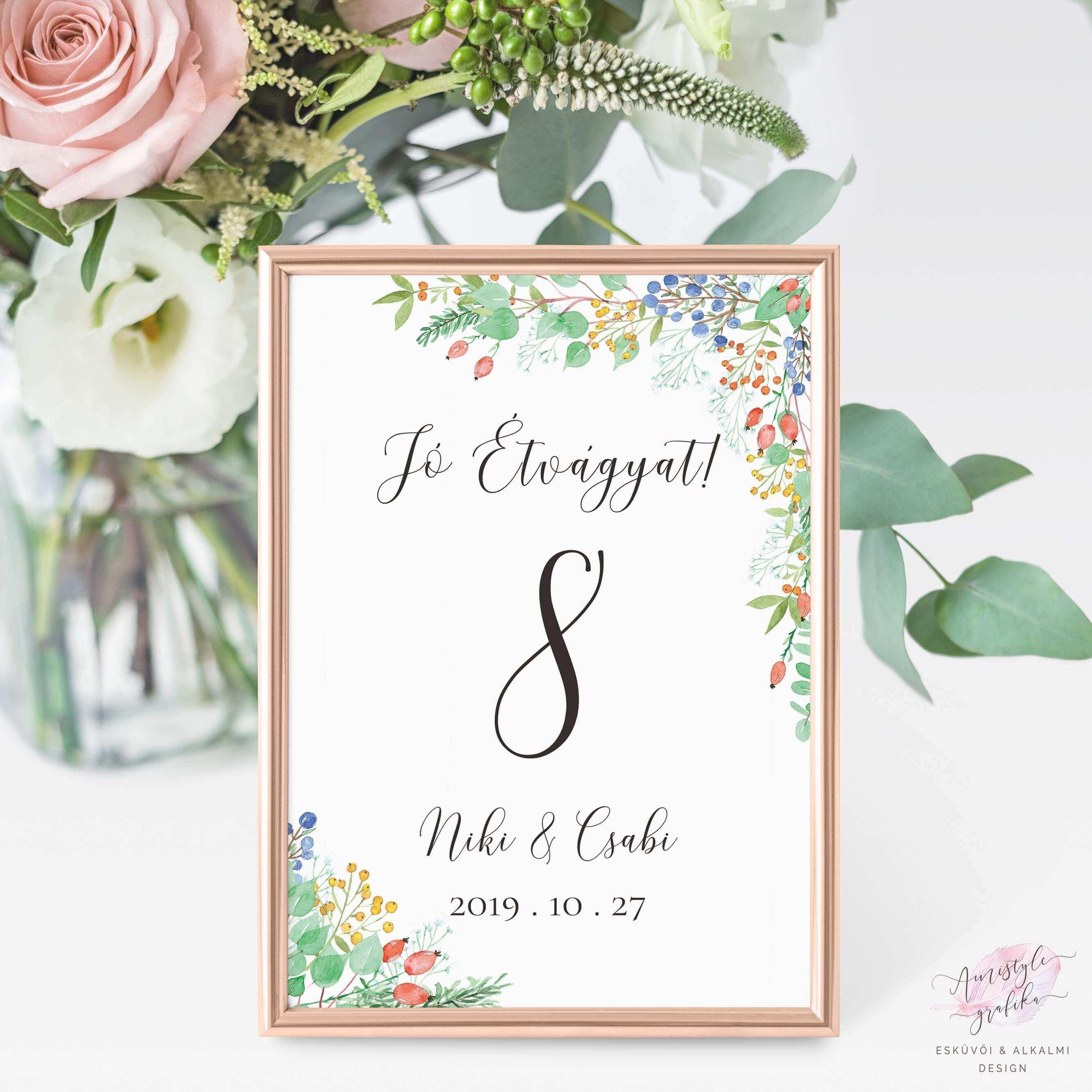 Fall Berry Esküvői Asztalszám
