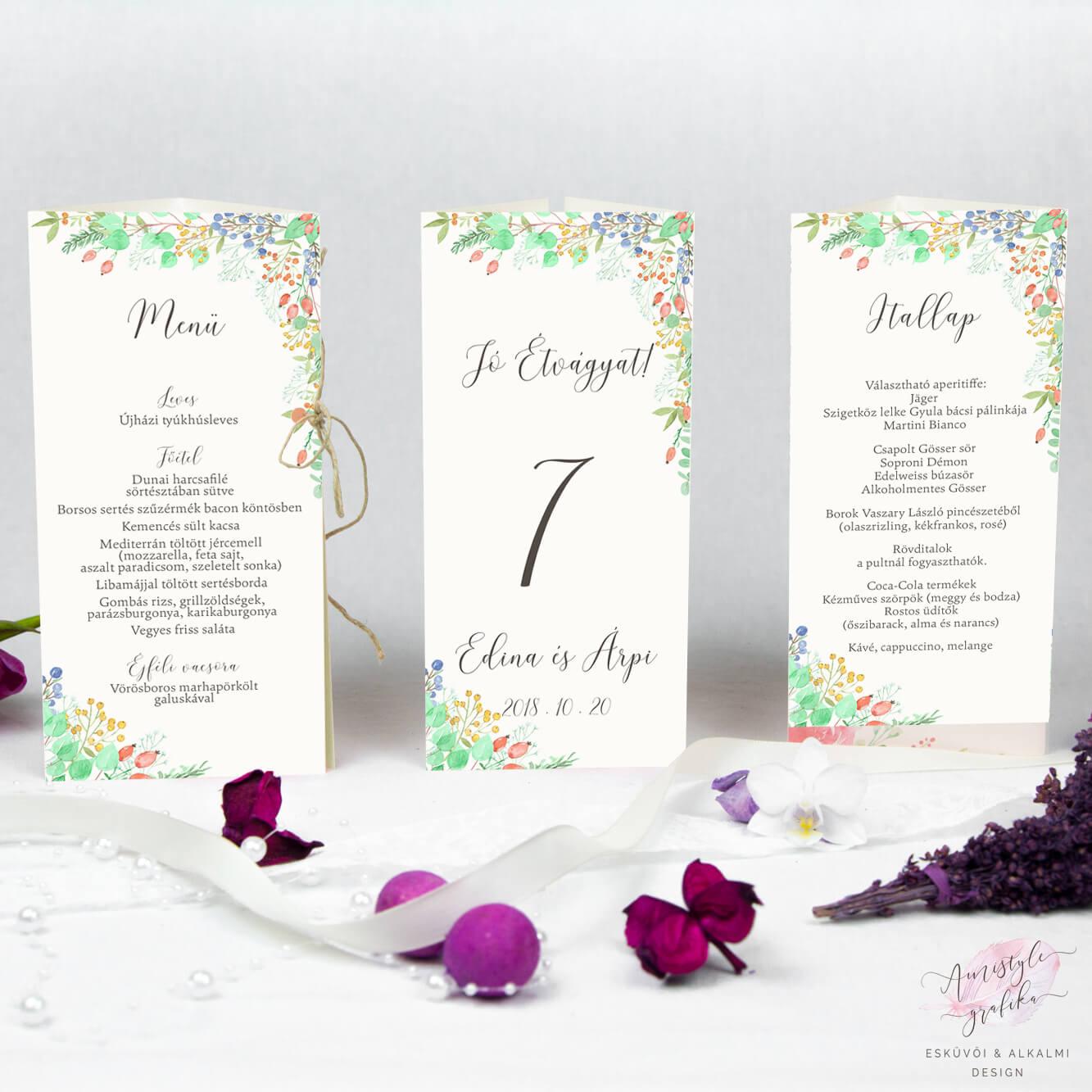 Fall Berry Esküvői Háromszög Menü