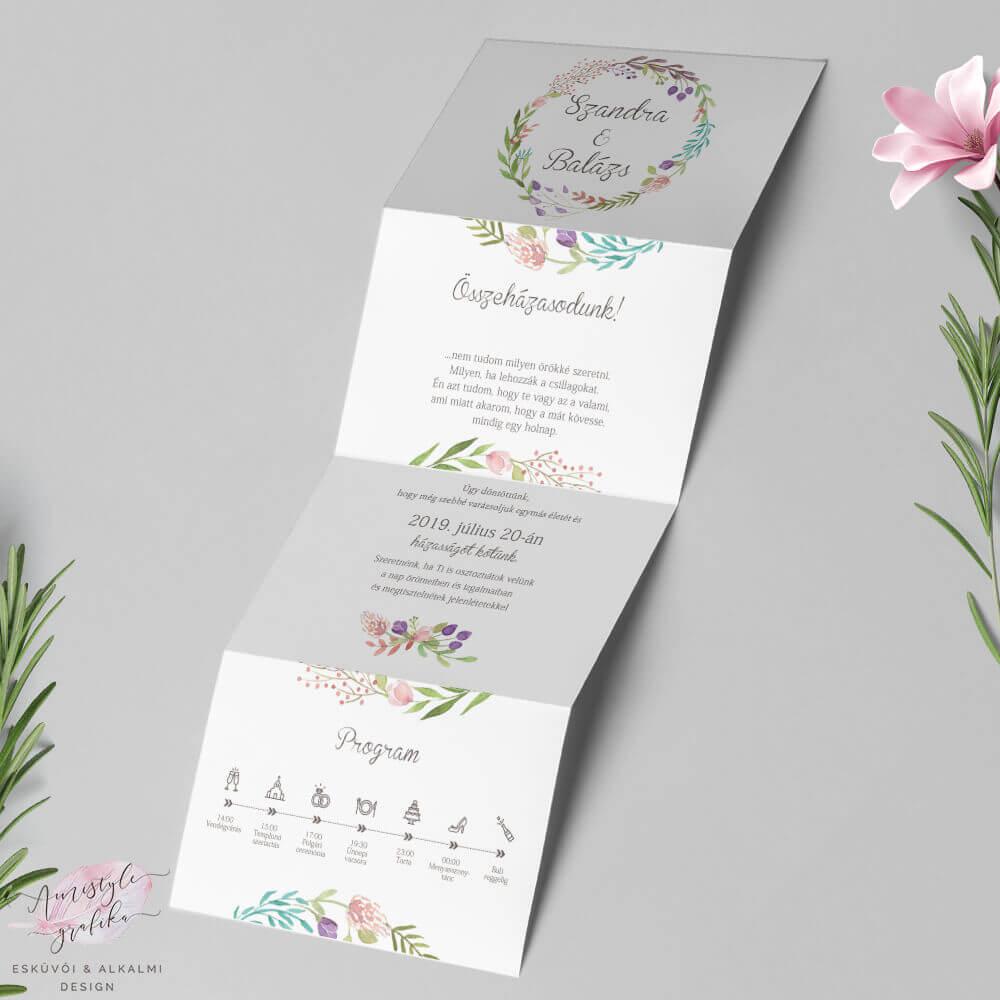 Virágkoszorús Harmonika Esküvői Meghívó
