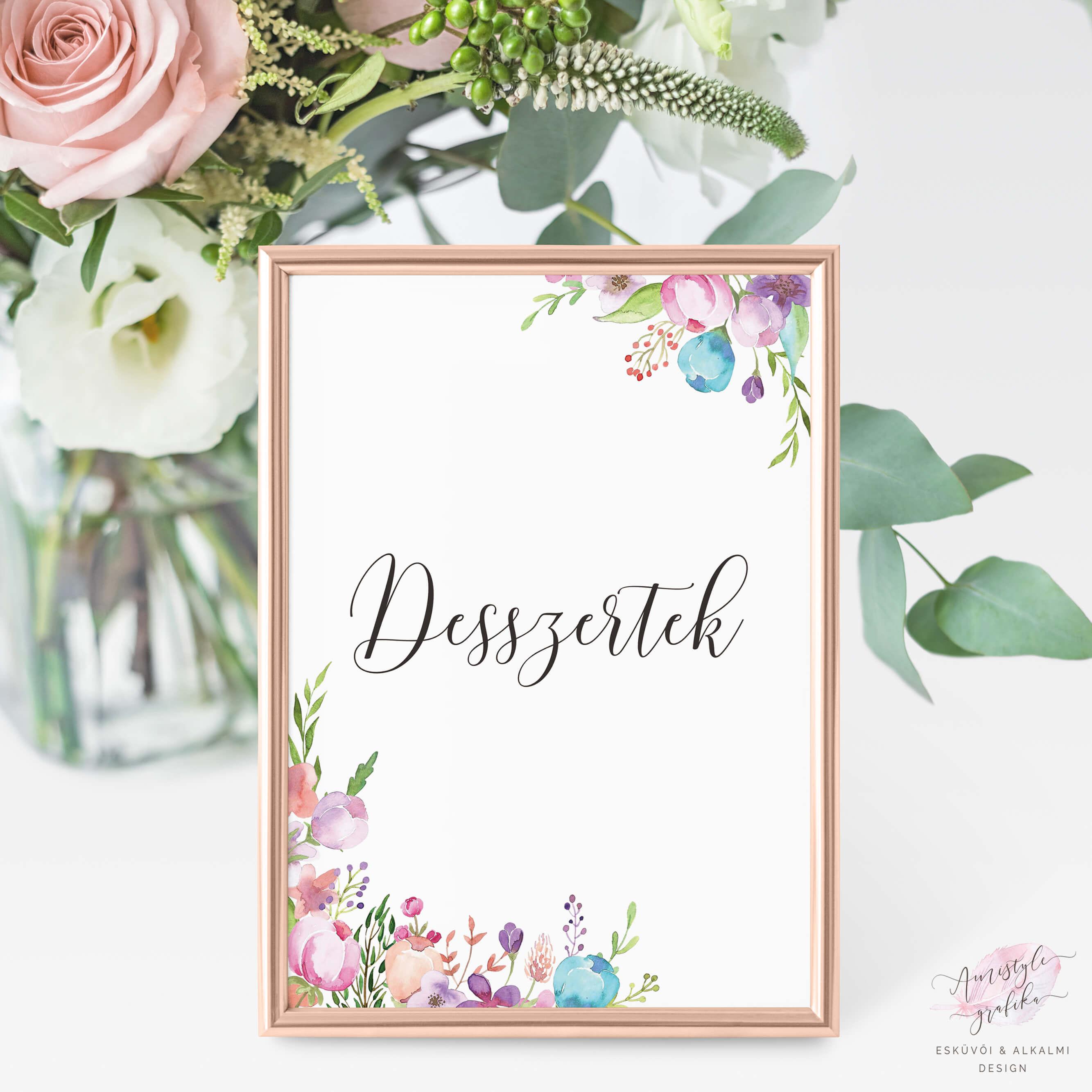 Floral Festett Esküvői Poszter
