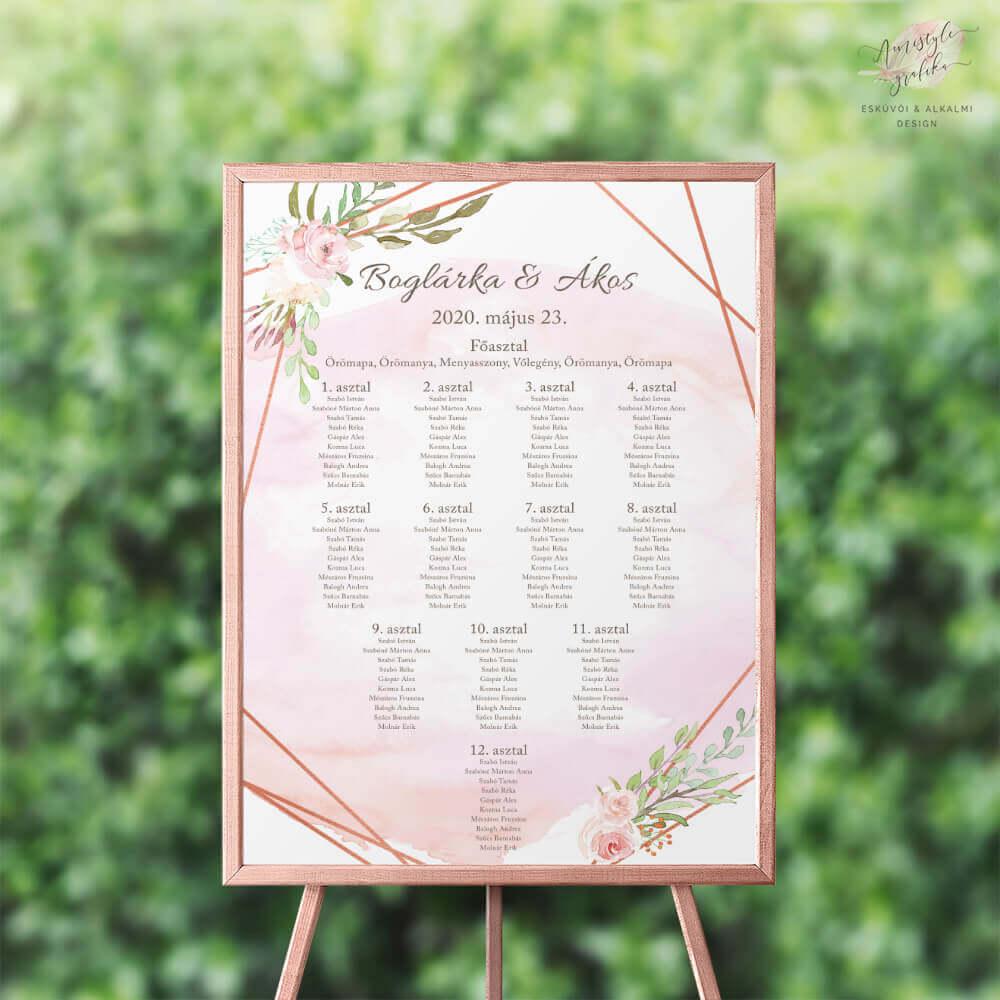 RoseGold és Akvarell Esküvői Ültetési Rend - Álló vagy Fekvő