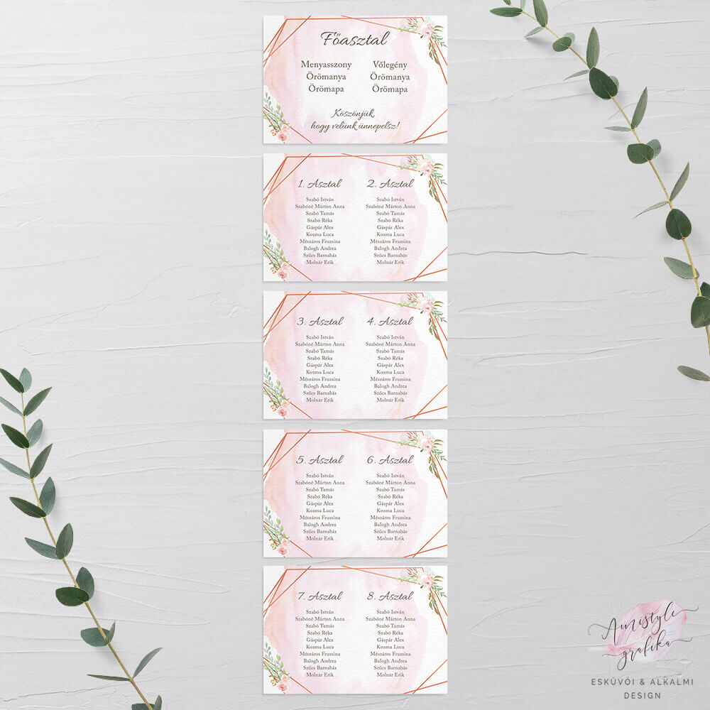 Geometrikus és Virágos Esküvői Ültetési Rend - A4 5 Lapos
