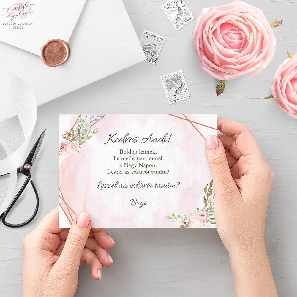 Vízfestékes és Rosegold Esküvői Tanú Felkérő Kártya