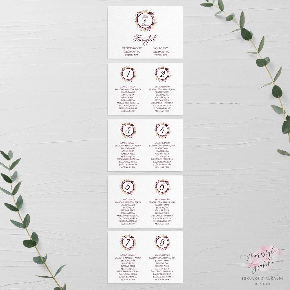 Bordó Virágos Festett Esküvői Ültetési Rend - A4 5 Lapos