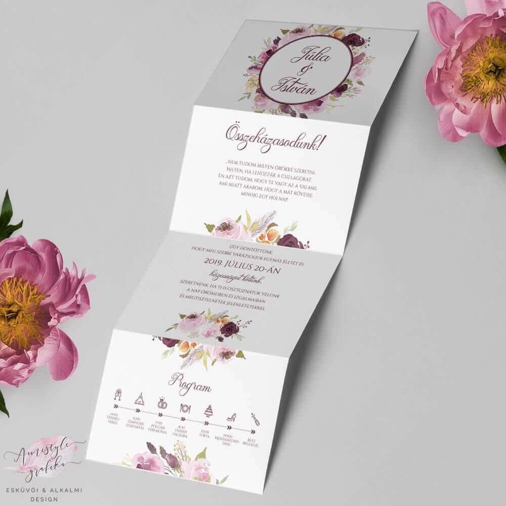 Bordó Akvarell Harmonika Esküvői Meghívó