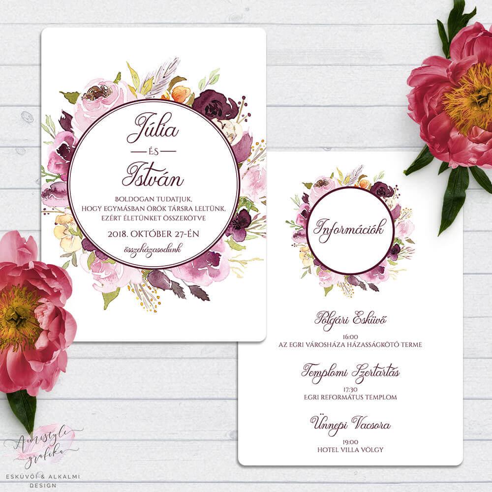 Bordó Akvarell Virágos Kétoldalas Esküvői Meghívó