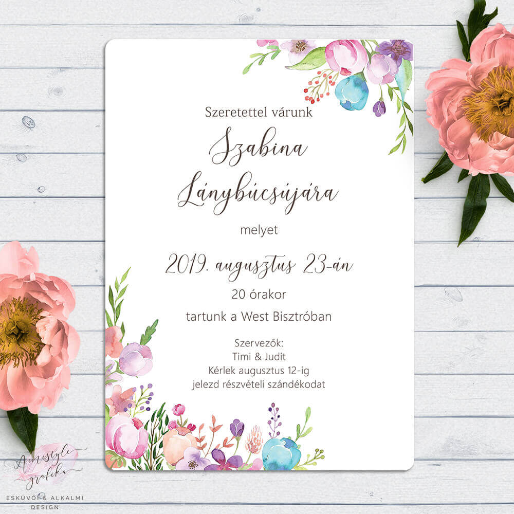 Virágos Akvarell Lánybúcsú Buli Meghívó