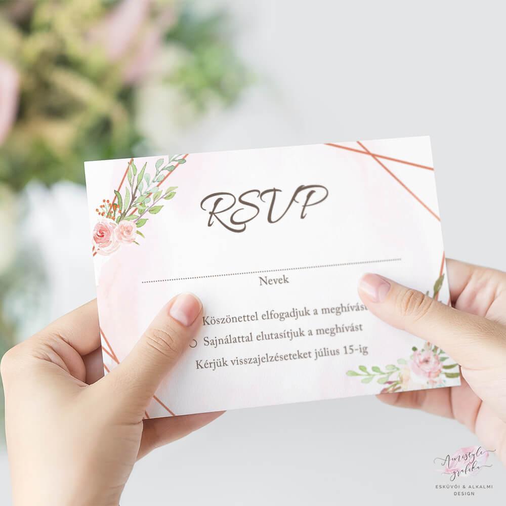 Akvarell és Rosegold Esküvői RSVP Válaszkártya