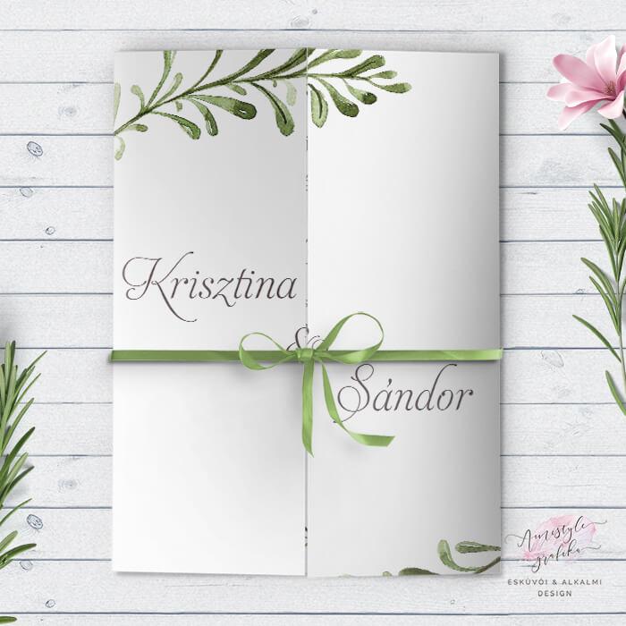 Greenery Zöldleveles Ablakos Esküvői Meghívó