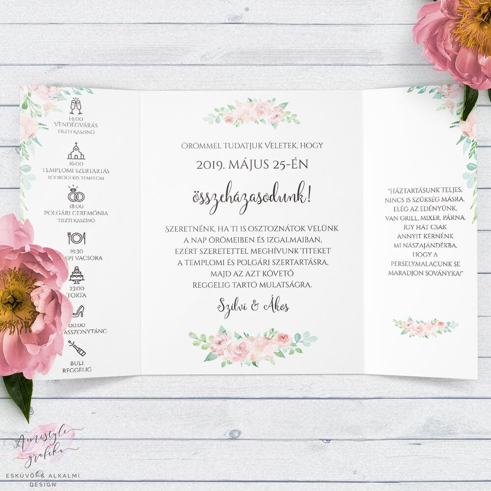 Akvarell Virágos Ablakos Esküvői Meghívó