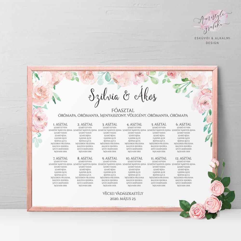 Pasztell Virágos Esküvői Ültetési Rend - Álló vagy Fekvő