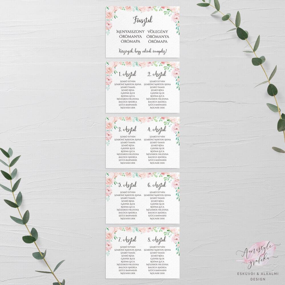 Pasztellvirágos Festett Esküvői Ültetési Rend - A4 5 Lapos