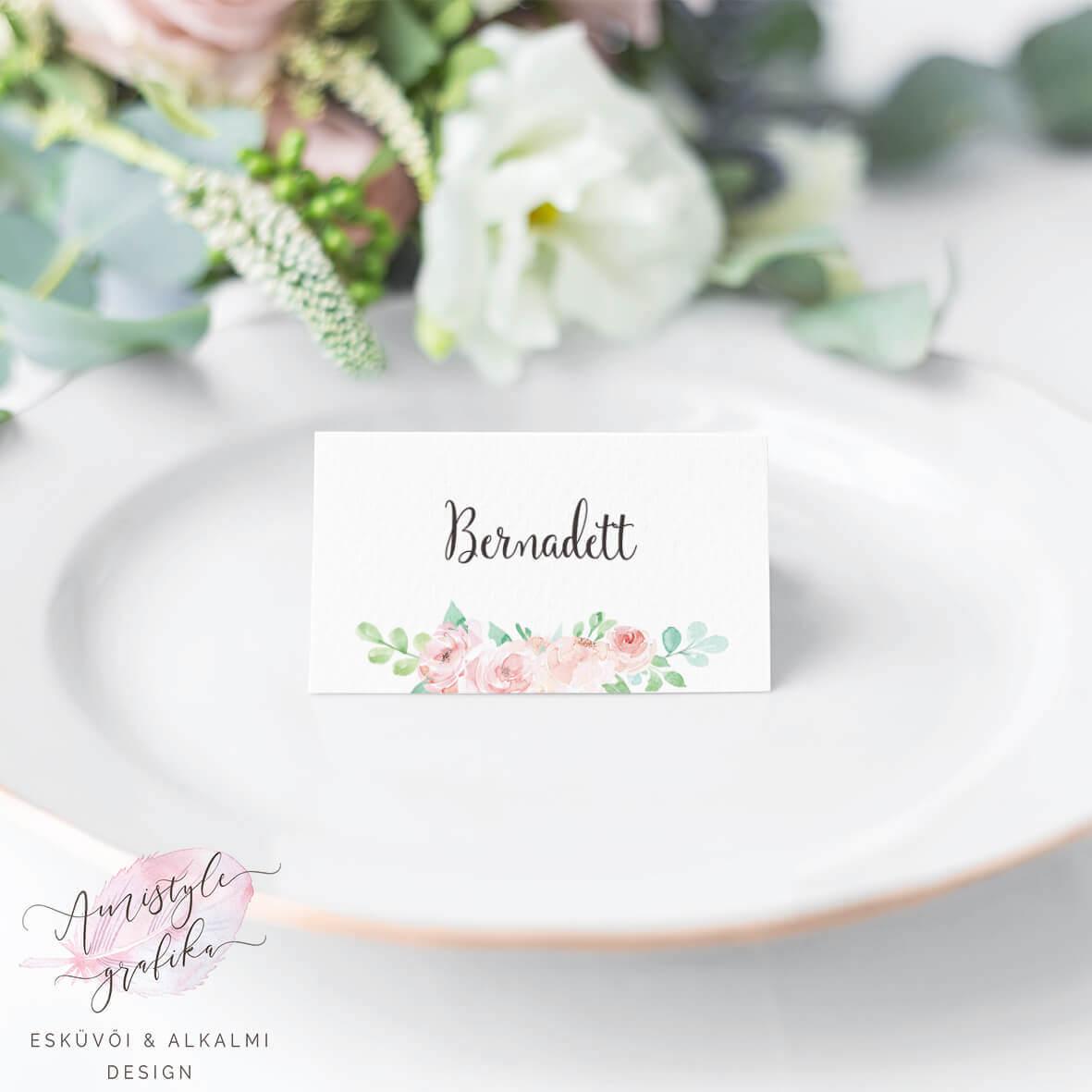Korall Menta Virágos Esküvői Ültetőkártya
