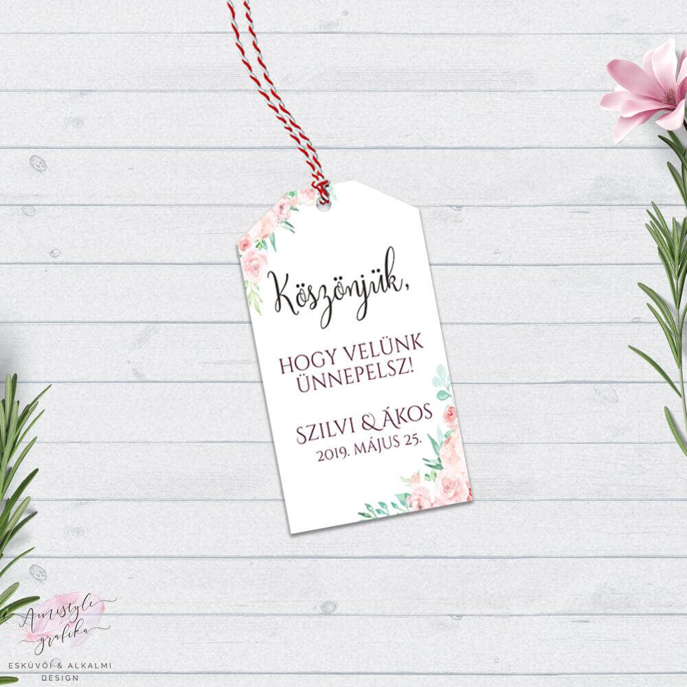 Korall Menta Virágos Ajándékkísérő Kártya