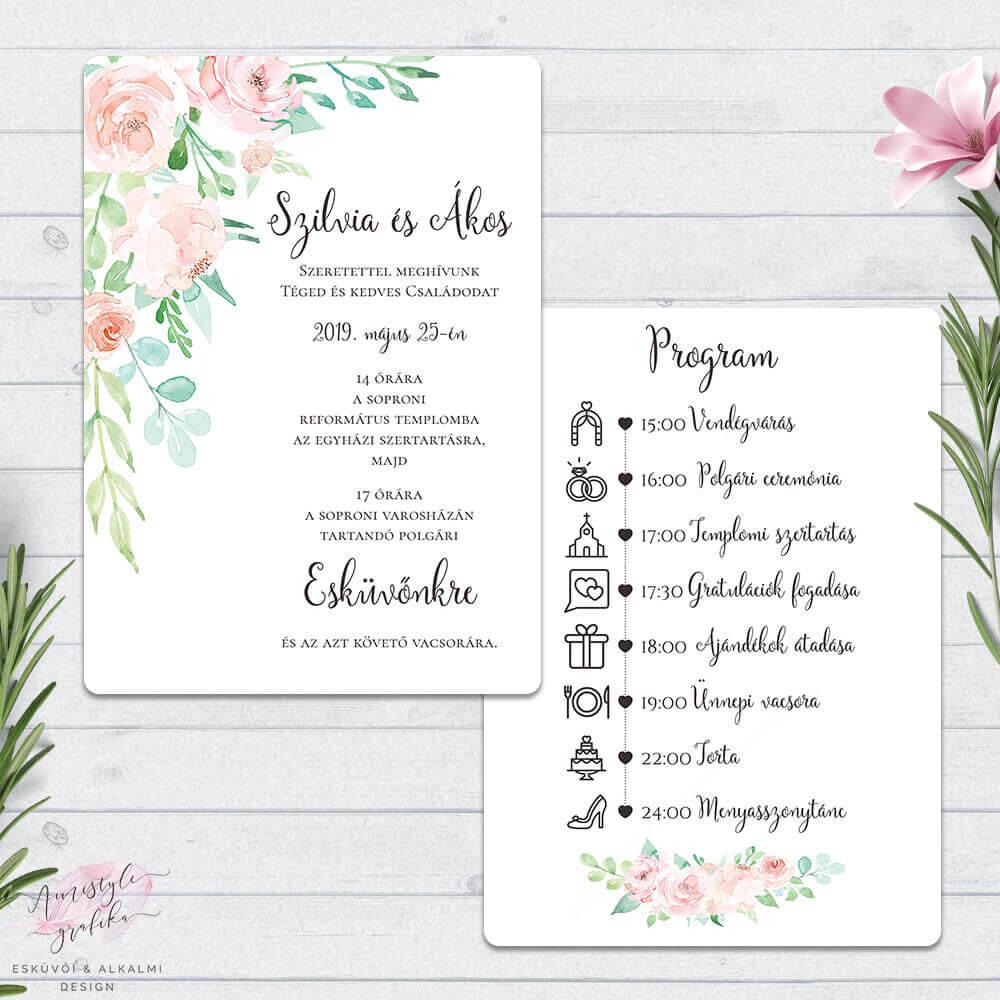Korall és Menta Virágos Kétoldalas Esküvői Meghívó