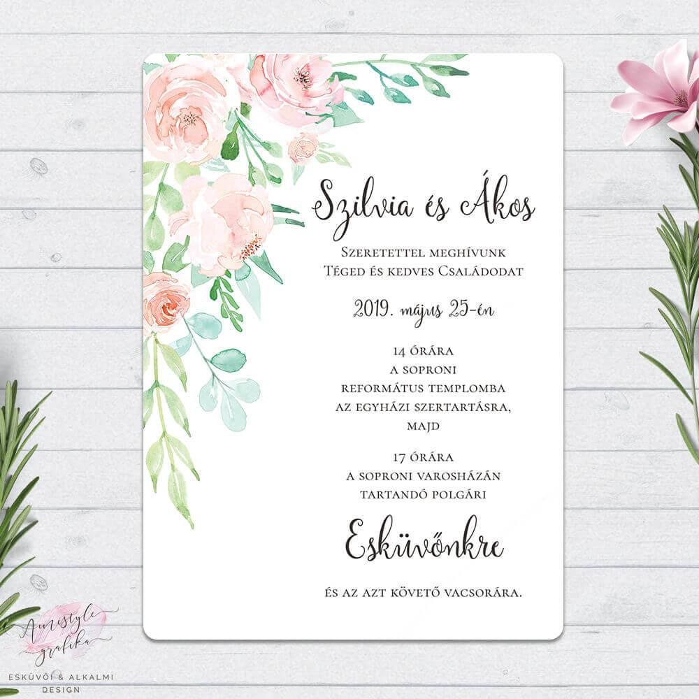 e4515b6138 Korall és Menta Virágos Kétoldalas Esküvői Meghívó - Esküvői Meghívó ...