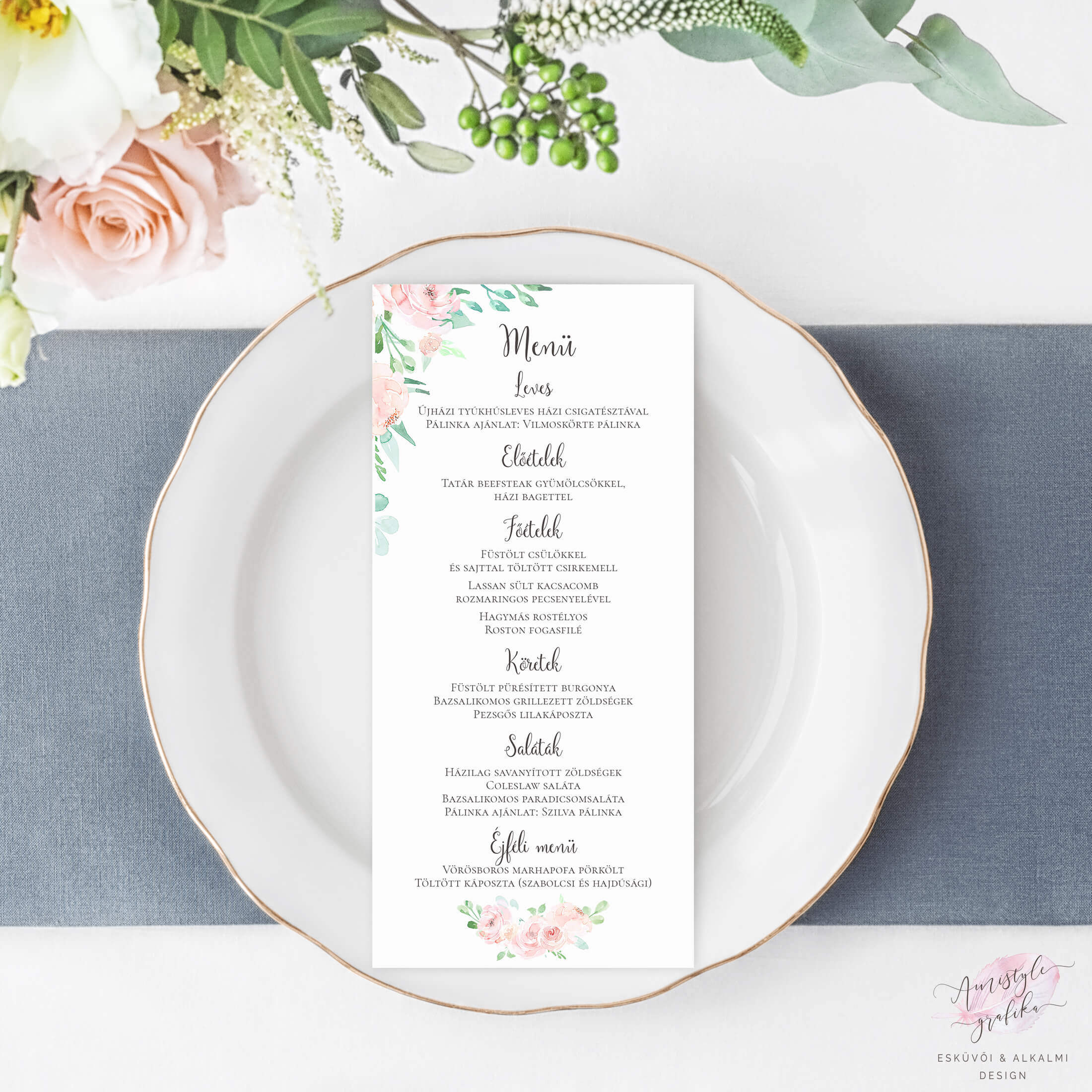 Korall Menta Akvarell Esküvői Menü Kártya Lap