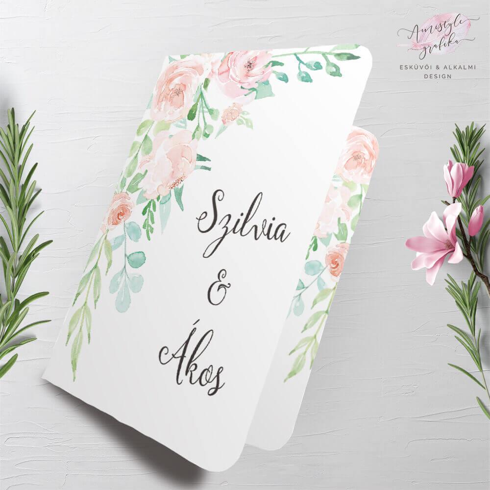 Korall Menta Akvarell Hajtott Esküvői Meghívó