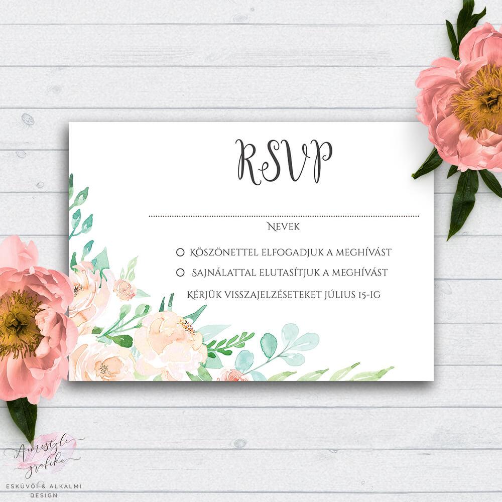 Festett Pasztellvirágos Esküvői RSVP Válaszkártya