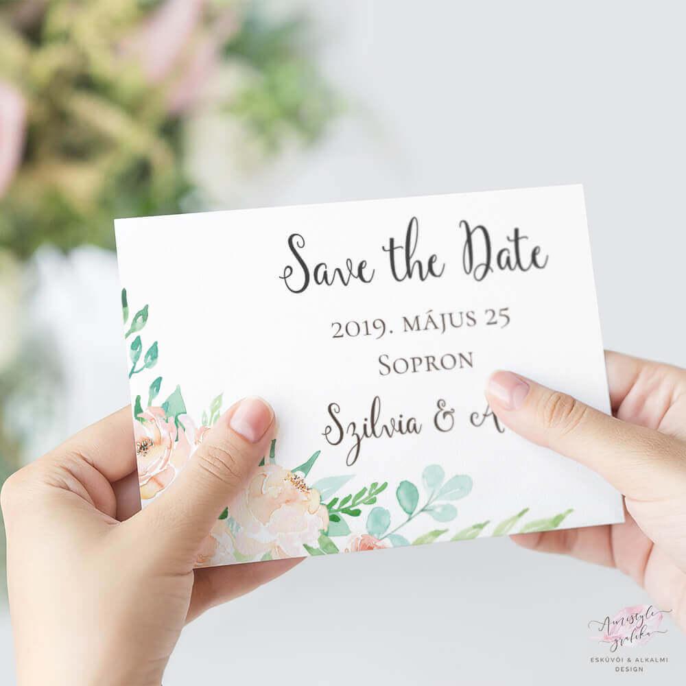 Korall és Menta Esküvői Save the Date Értesítő Lap