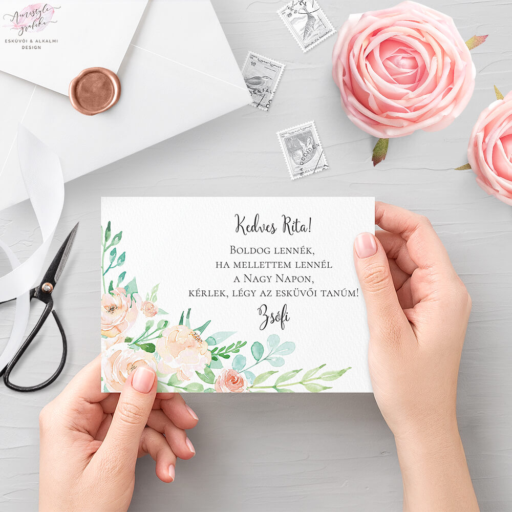 Pasztell Virágos Esküvői Tanú Felkérő Kártya