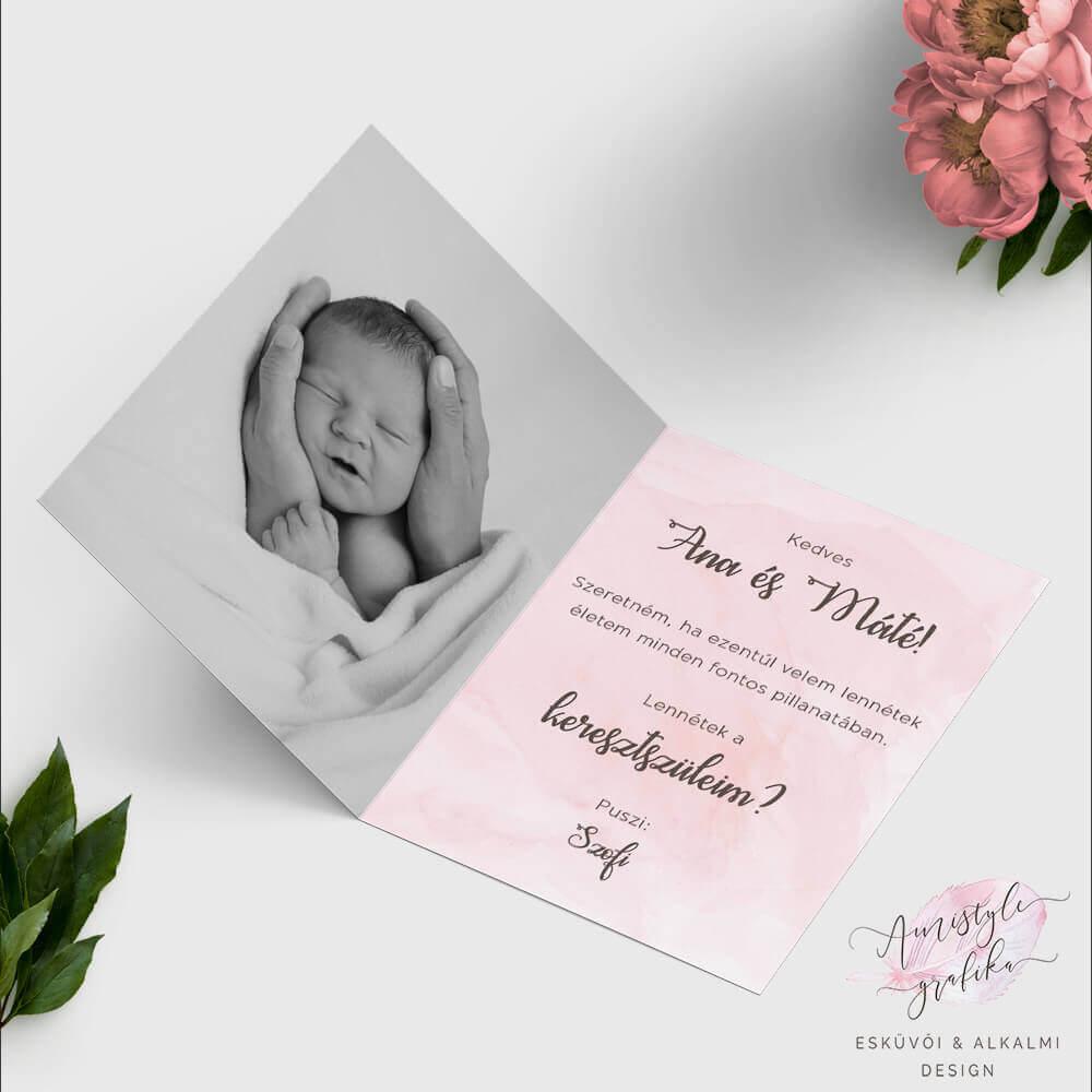 Púder-rózsaszín Nyitható Keresztszülő Felkérő Lap