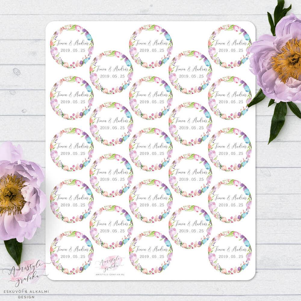 Floral Borítékzáró Címke Esküvői Meghívóhoz