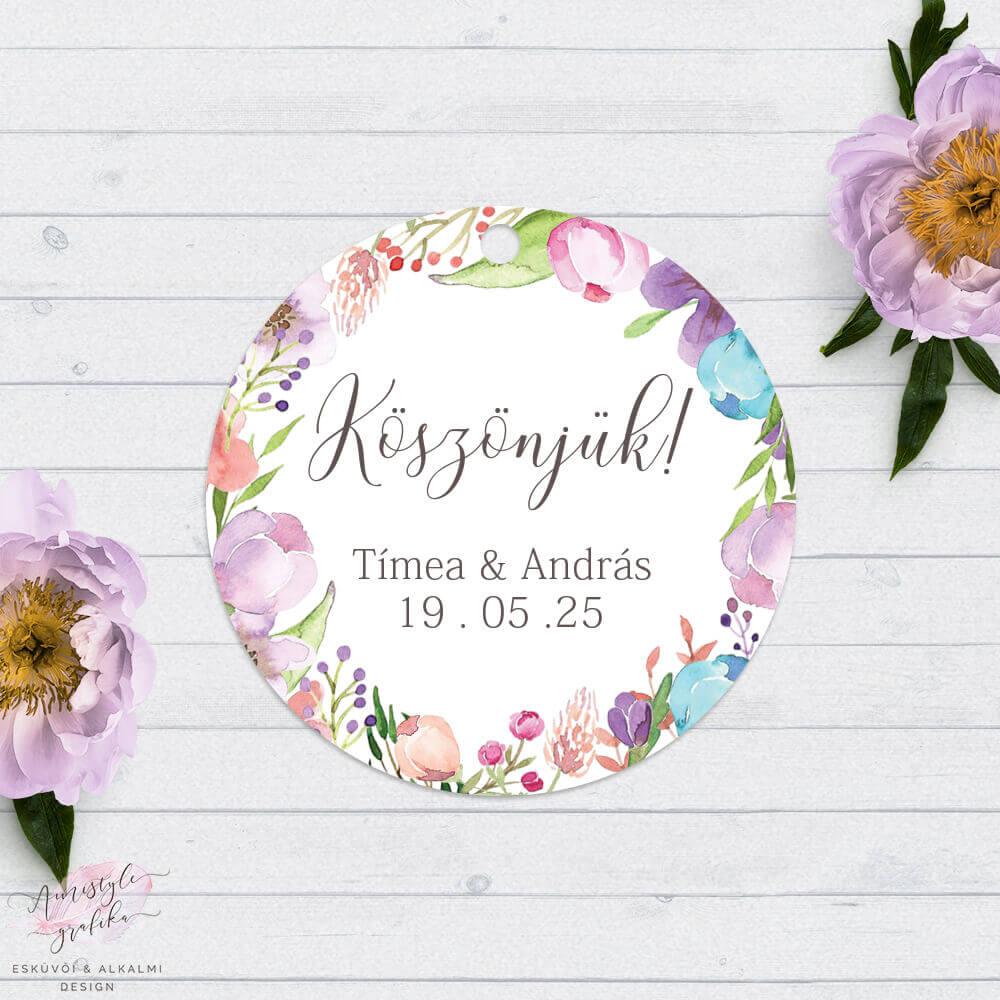 Floral Esküvői Kör Címke Köszönőkártya