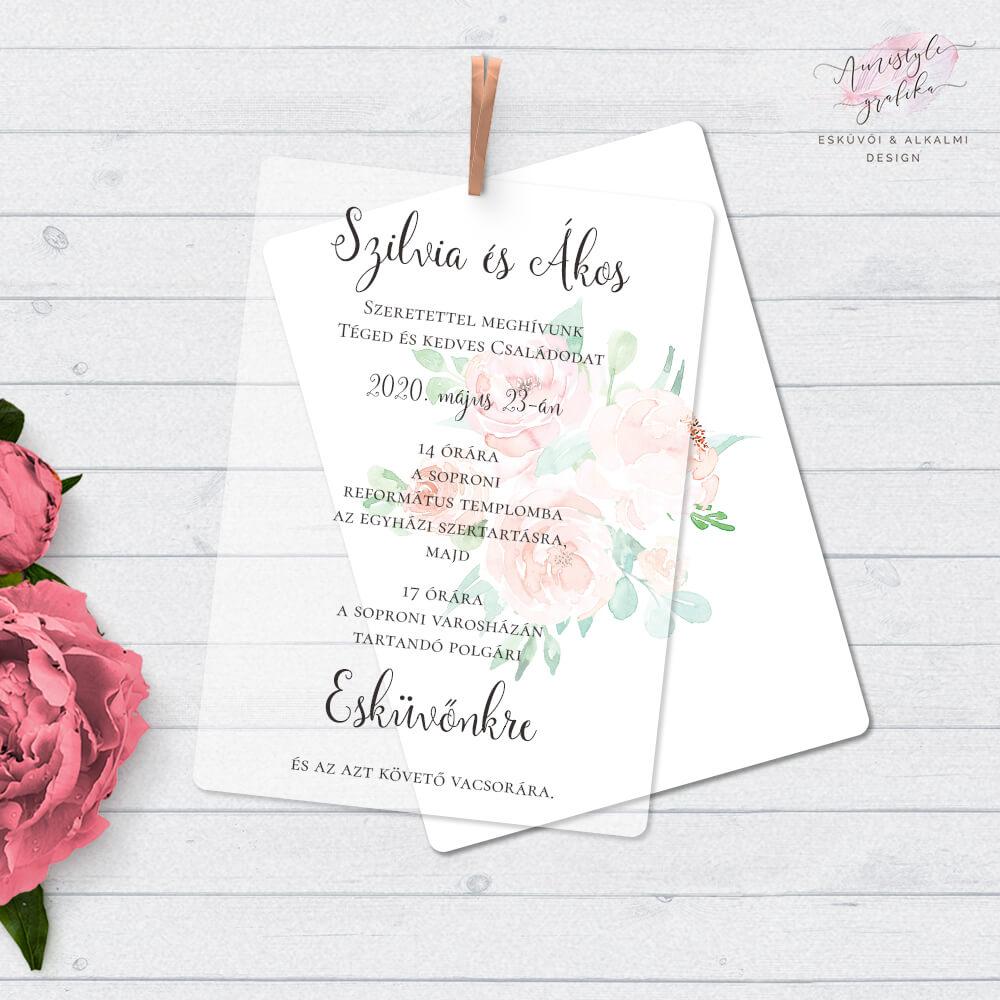 Pausz Papíros Akvarellvirágos Esküvői Meghívó
