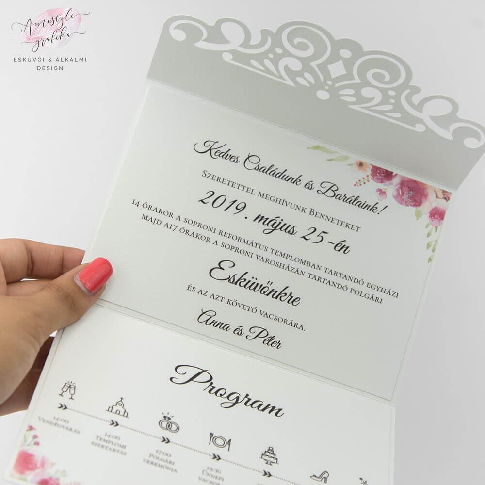 Elegáns Csipkemintás Borítékra Hajtott Esküvői Meghívó