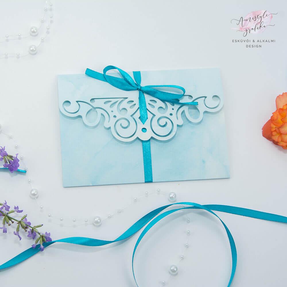 Kék Csipkemintás Borítékra Hajtott Esküvői Meghívó