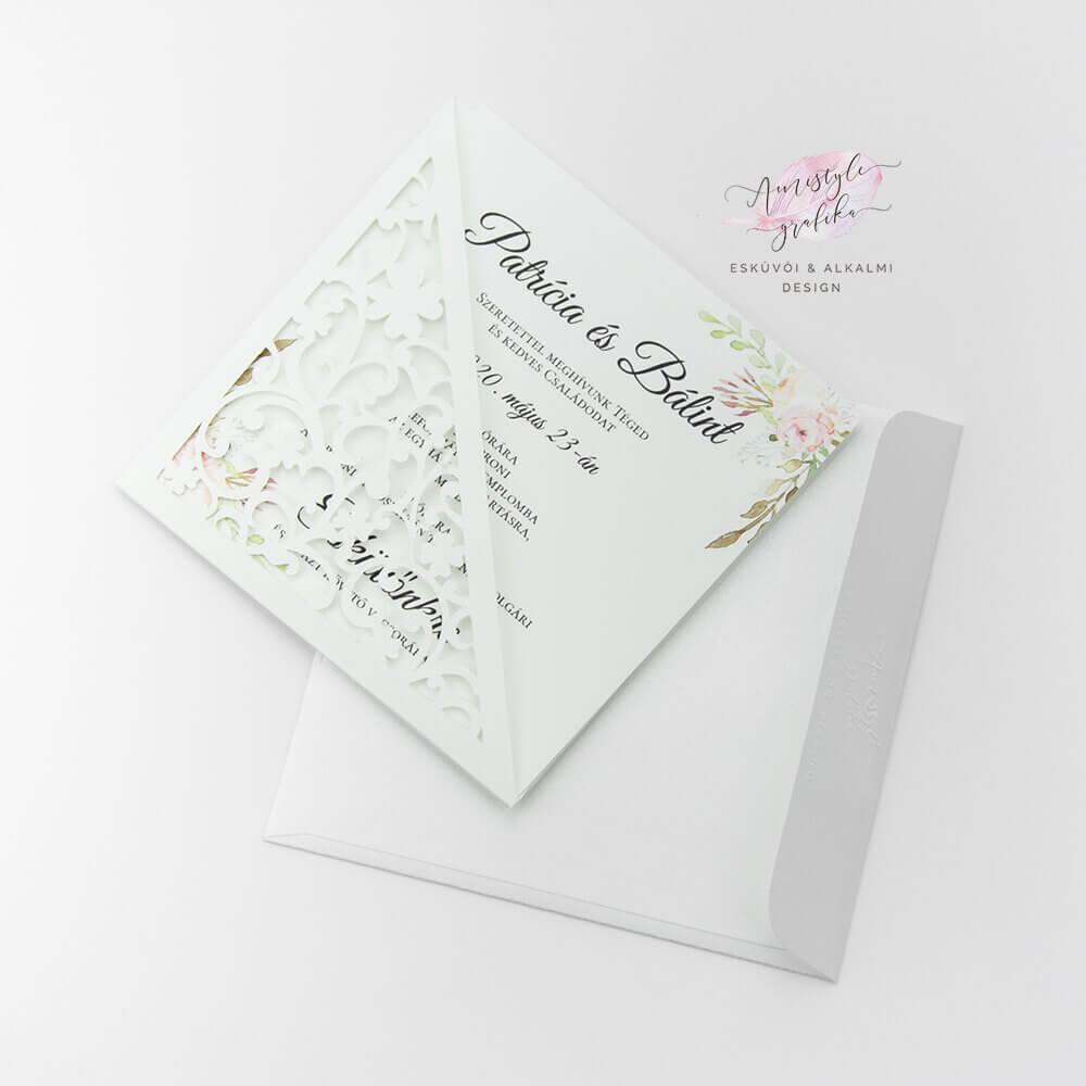 Átlós Csipkemintás Négyzetes Esküvői Meghívó