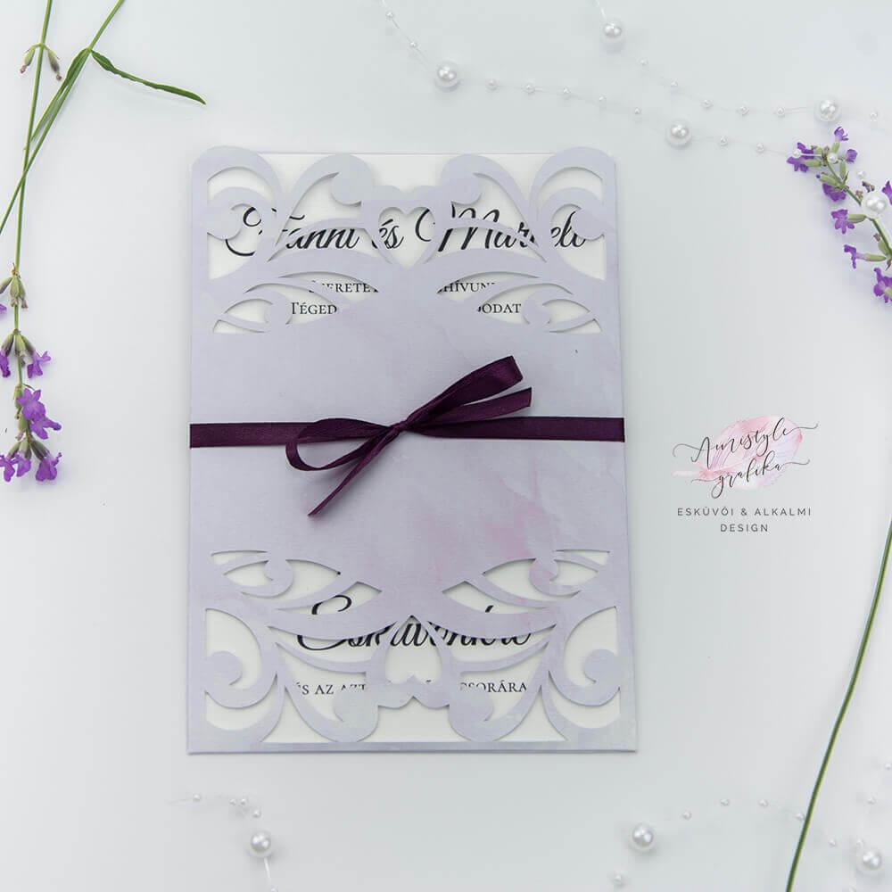 Lila Csipkés Álló Formájú Esküvői Meghívó